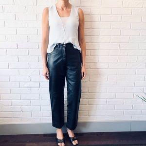 Vintage high waist straight leg leather pants